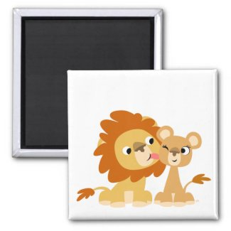 The Kiss: Cute Cartoon Lion Couple Magnet magnet