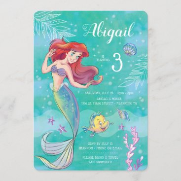 The Little Mermaid | Watercolor Birthday Invitation