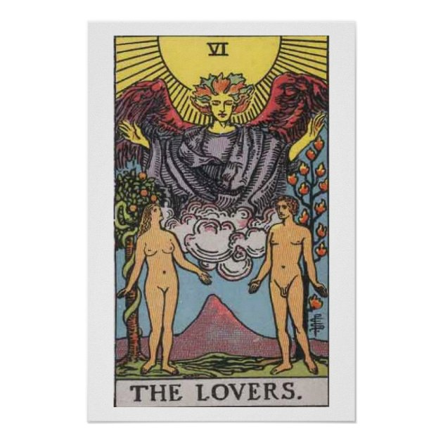 the lovers tarot card poster zazzle com