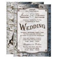 The Rustic Silver Birch Tree Wedding Collection Card