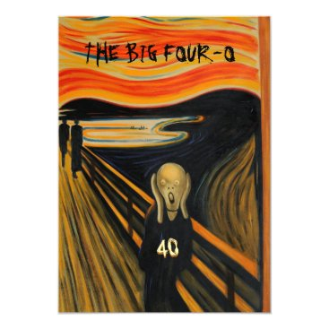 The Scream - Funny 40th Birthday Invitation