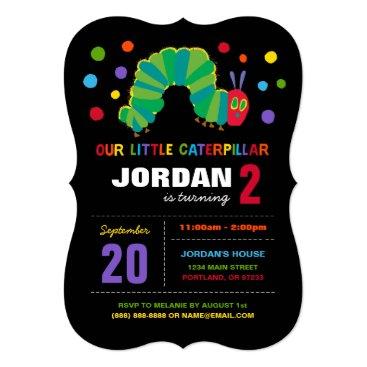 The Very Hungry Caterpillar Chalkboard Birthday Invitation