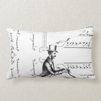 The Walking Bicycle Throw Pillows
