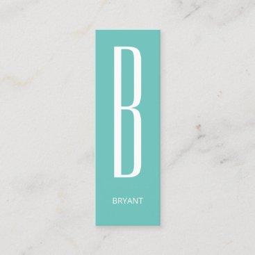 Thin giant monogram cover cyan mini business card