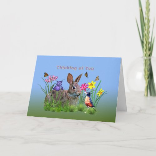 Thinking of You, Bunny Rabbit, Robin, and Flowers Card