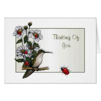 Thinking Of You: Hummingbird, Daisies, Ladybugs Card