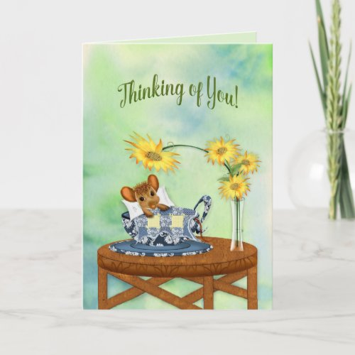 Thinking of You - Mouse in Tea Cup Resting Card