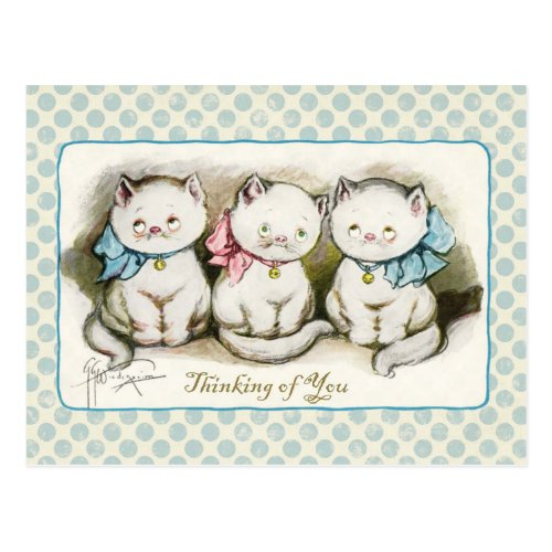 Thinking of You Three Kitties Vintage Reproduction Postcard
