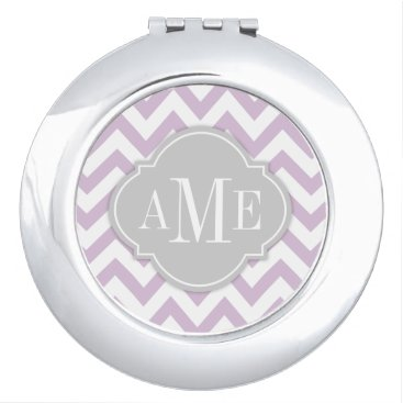 Thistle Purple and White Chevron with Monogram Mirror For Makeup