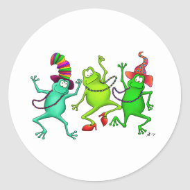 Three Dancing Frogs Classic Round Sticker