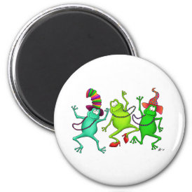 Three Dancing Frogs Magnet