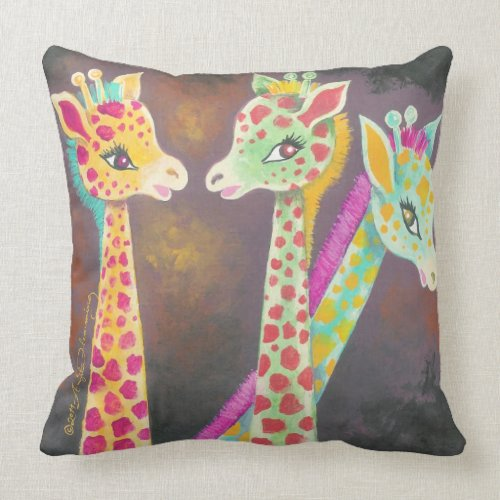 Three Giraffes throwpillow