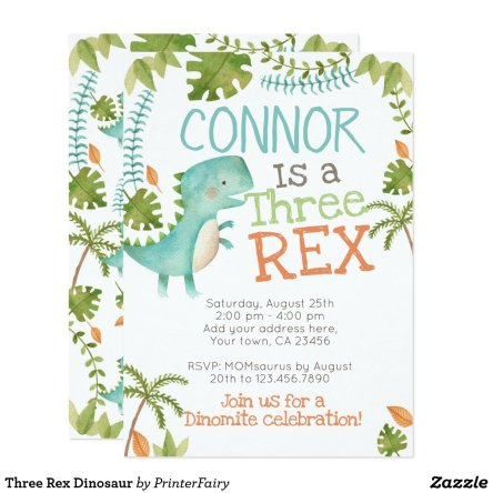 Three Rex Dinosaur Invitation