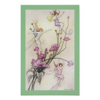 Three Spirits Fairy Tale by Warwick Goble Poster print
