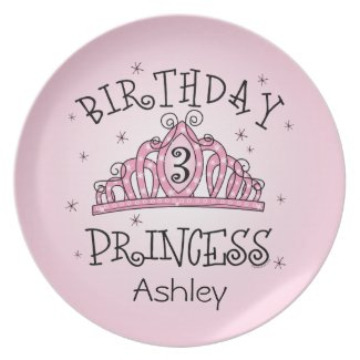 Tiara Princess 3rd Birthday Party Plate