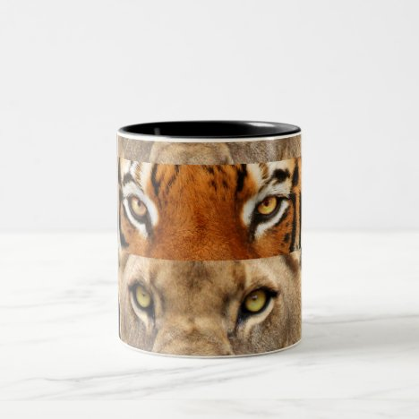 Tiger and Lion eyes Photo Two-Tone Coffee Mug