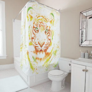 Tiger Art Paint Shower Curtain