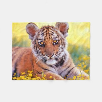 Tiger Baby Cub Digital Paint Fleece Blanket