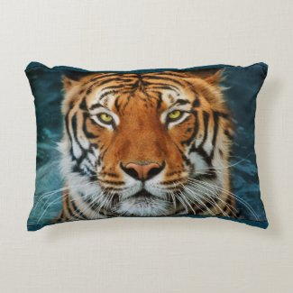 Tiger in Water Photograph Accent Pillow