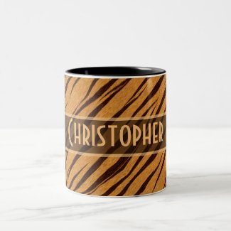 Tiger Stripes Skin Pattern Personalize Coffee Mugs