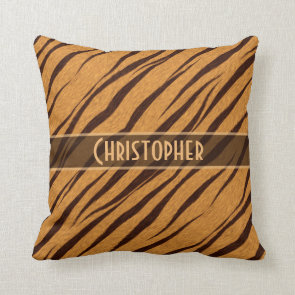 Tiger Stripes Skin Pattern Personalize Throw Pillows