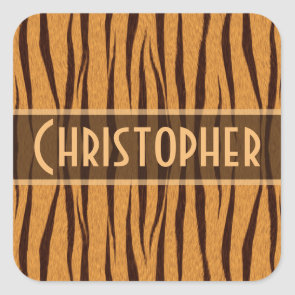 Tiger Stripes Skin Pattern Personalize Square Stickers