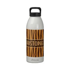 Tiger Stripes Skin Pattern Personalize Water Bottle