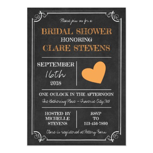 Til Death Halloween Skeleton Orange Bridal Shower Invitation