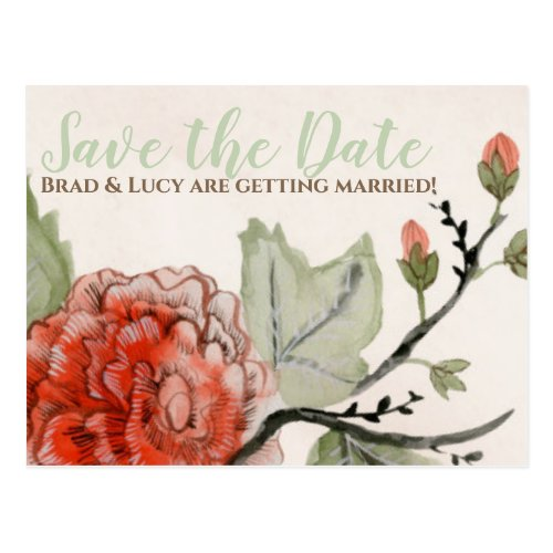 Timeless Appeal Red Watercolor Save the Date Postcard