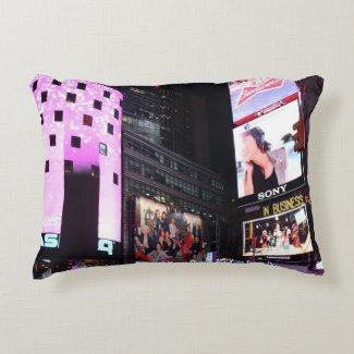 Times Square in New York City (pink) Accent Pillow