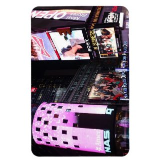 Times Square in New York City (pink) Rectangular Magnets