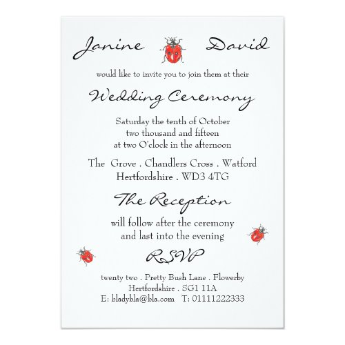 Tiny Ladybird/Ladybug Wedding Invitation