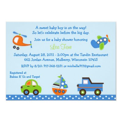 Transportation Baby Shower card