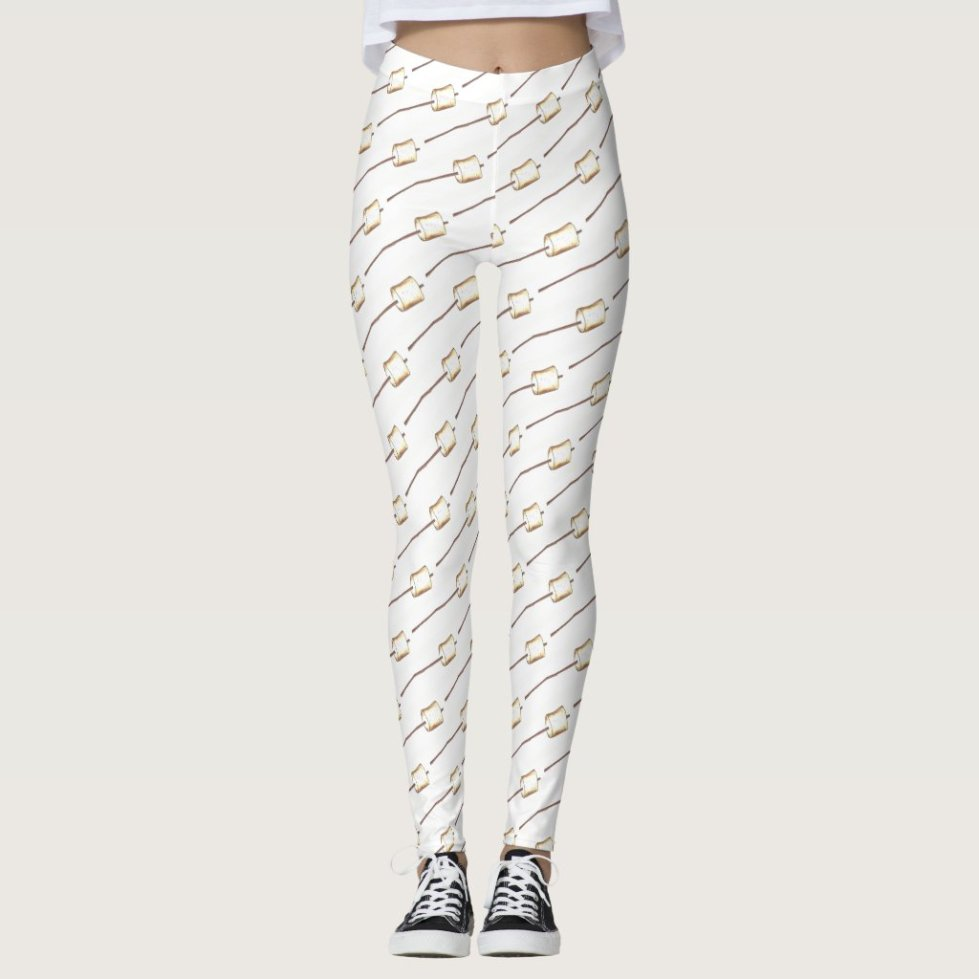 Toasted Marshmallow Stick Campfire Camp S'mores Leggings