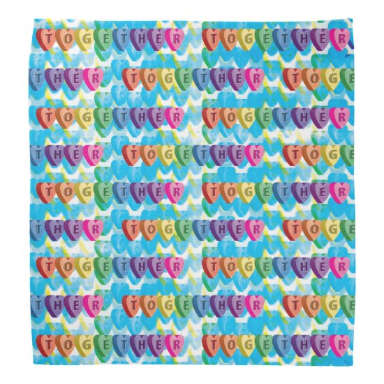 Together Abstract Funky Rainbow Hearts Bandana