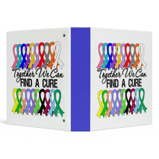 Together We Can Find A Cure CANCER RIBBONS Binders binder
