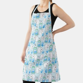 Toilet Paper and Hand Sanitizer Pattern Apron