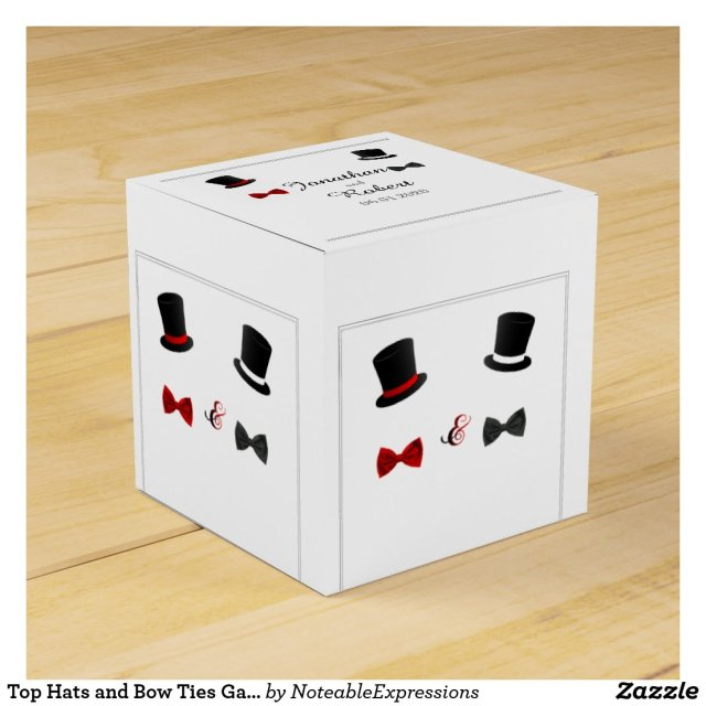 Top Hats and Bow Ties Gay Wedding Favor Box