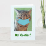 Funny Got Cooties Cat Get Well Card