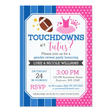 Touchdowns or Tutus Blue Pink Gender Reveal Party Invitation