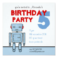 Toy Robot Birthday Invitation