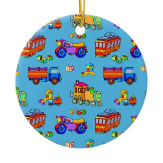 Toys - Red Trucks & Orange Trains ornament