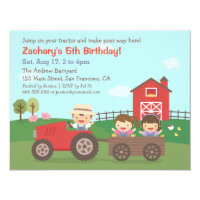 Tractor on Farm Kids Birthday Party Invitations