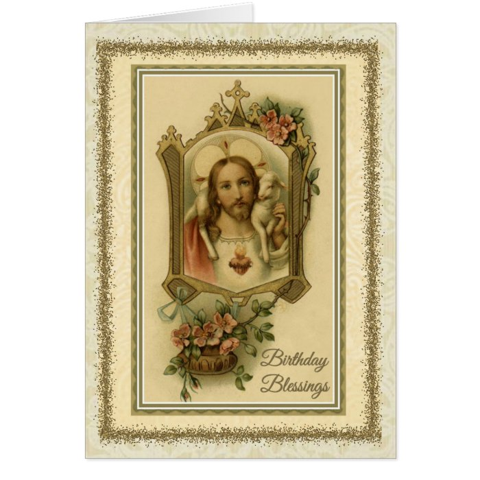 Traditional Catholic Birthday Jesus Blessing Card Zazzle
