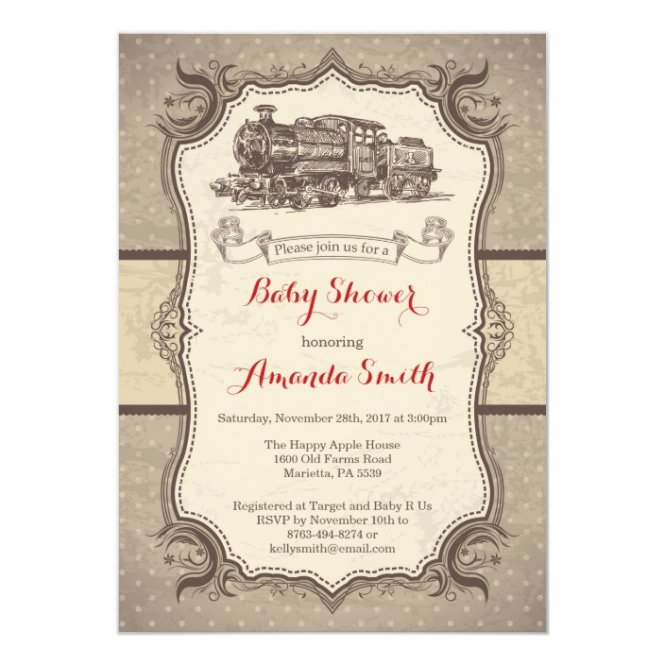 Baby Shower Invitation Vintage Retro