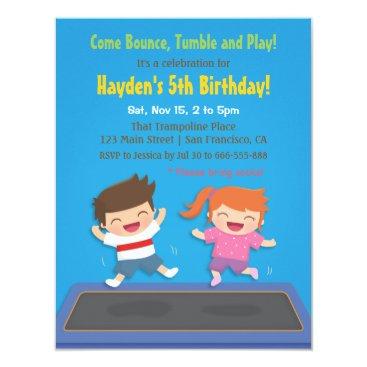 Trampoline Kids Birthday Party Invitations