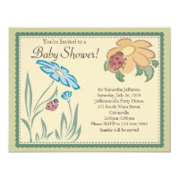 Tranquil Ladybugs Neutral Baby Shower Invitations