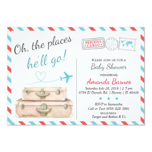 Travel Baby Shower Invitation Airplane Invites