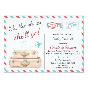 Travel Baby Shower Invitation for Girls, Airline