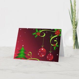 Tree and holly - Card card